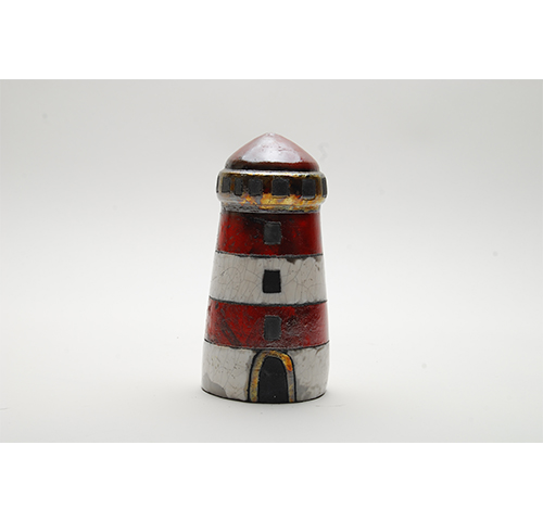 Ceramic hand painted lighthouse - Phare en faience H.21cm