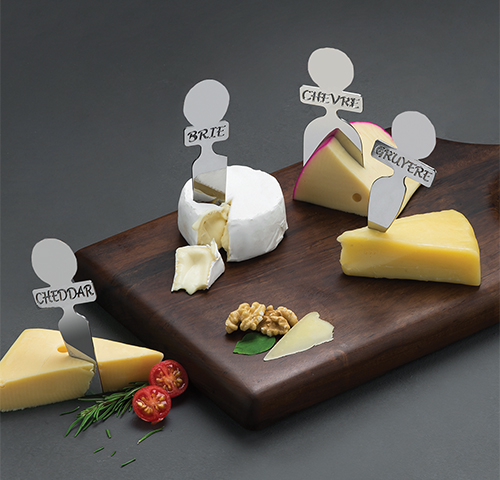 Stainless steel cheese knives set - Couteaux fromage acier (4pcs)