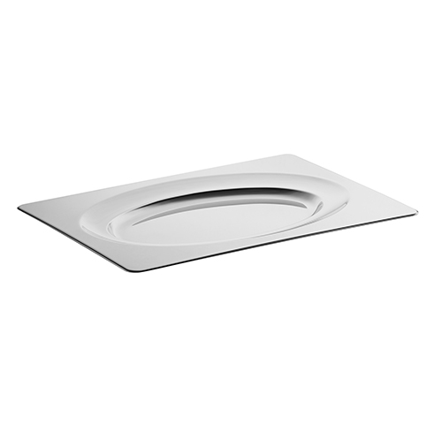 Stainless steel large serving plate - Plat acier 37x51cm