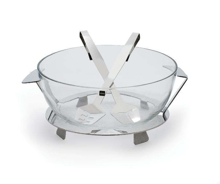 Full Moon 30cm stainless steel salad bowl w/support and servers -  Saladier Ritratto + couverts