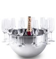 Bottega stainless steel champagne bucket w/removable support for 12 flutes - Seau à champagne acier + support flutes