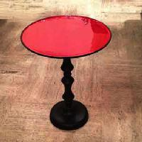 Round red table 45cm height 60cm - Table rouge emaillée diamètre 45cm Hauteur 60cm