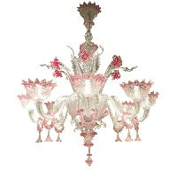 8 branches chandelier in Murano glass - Lustre 8 gl + anneaux cristal et rose