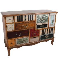 Colored chest of drawers 40x108cm H.77cm - Commode patchwork 1000 tiroirs