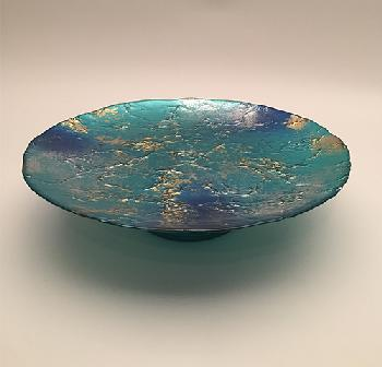 Blue footed plate - Plat rond 32cm sur pied