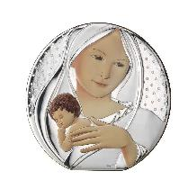 Virgin round sterling silver icon 5cm - Vierge argent massi