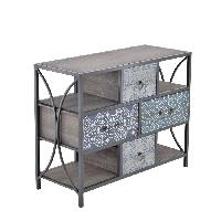 Wooden and metal drawer in blue design 34x83cm H.68cm - Commode 4 tiroirs