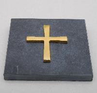 Copper cross on a grey slate 10cm - Croix cuivre sur ardoise grise