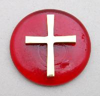 Brass cross on a red paperweight 7cm - Presse papier rouge et croix cuivre